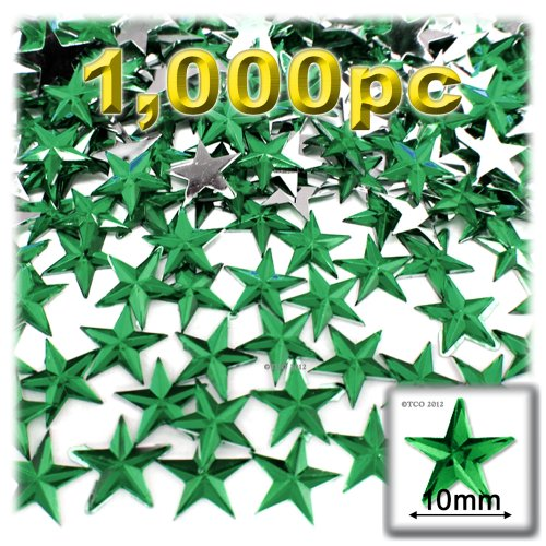 The Crafts Outlet 1000-Piece Flat Back Star Rhinestones, 10mm, Emerald Green