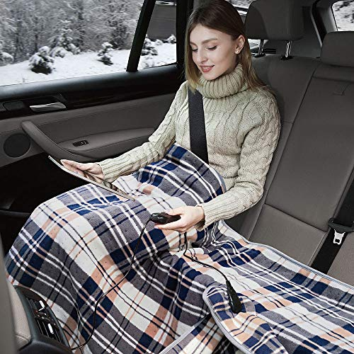 Elantrip 12 Volt Machine Washable Electric Heated Blanket Car Vehicle Truck SUV, Plaid Heated Travel Blanket Temp Controller (40x55 inch)