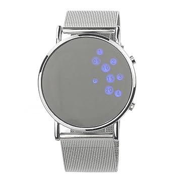 f37fe2fe7b71 PIXNOR Mujeres niñas ronda espejo cara azul LED Digital reloj (plata)   Amazon.es  Electrónica