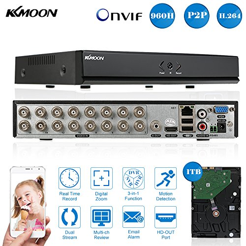 (KKmoon 16CH Channel Full 960H/D1 DVR HVR NVR HDMI P2P Cloud Network Onvif Digital Video Recorder + 1TB Hard Disk support Plug and Play Free CMS Browser View Motion Detection Email Alarm PTZ)