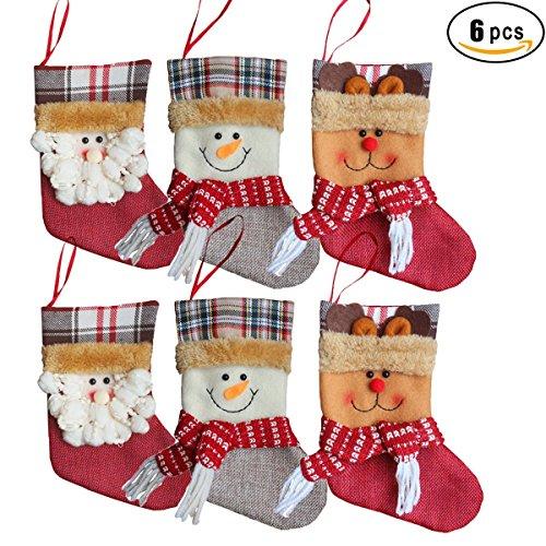 "Santa Mini Stocking (Kyerivs Mini 7.7"" Christmas Stockings for Decoration, Santa Snowman and Elk Decorations Gift/Treat Bags for Kids,6 PCS)"