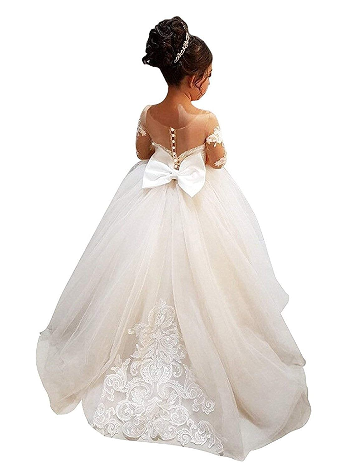 Amazon Hengyud Long Sleeves Flower Girls Dresses Lace Country