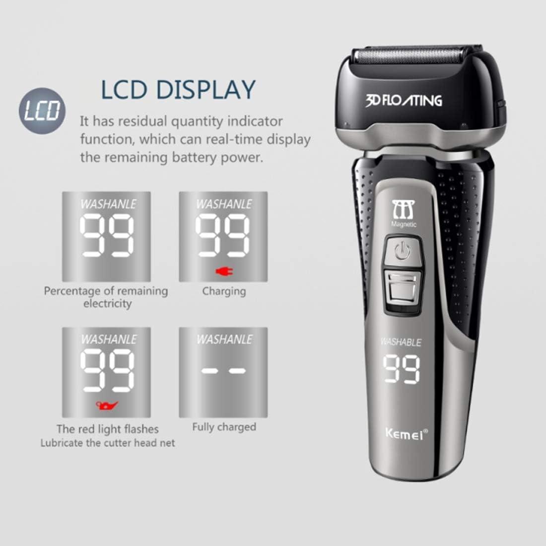 KLI Cabeza Flotante 3D Máquina de Afeitar de Afeitar eléctrica de Triple Hoja Pantalla LCD Recargable Máquina de Afeitar de la máquina de Afeitar de los Hombres Shaver Trimmer: Amazon.es: Hogar
