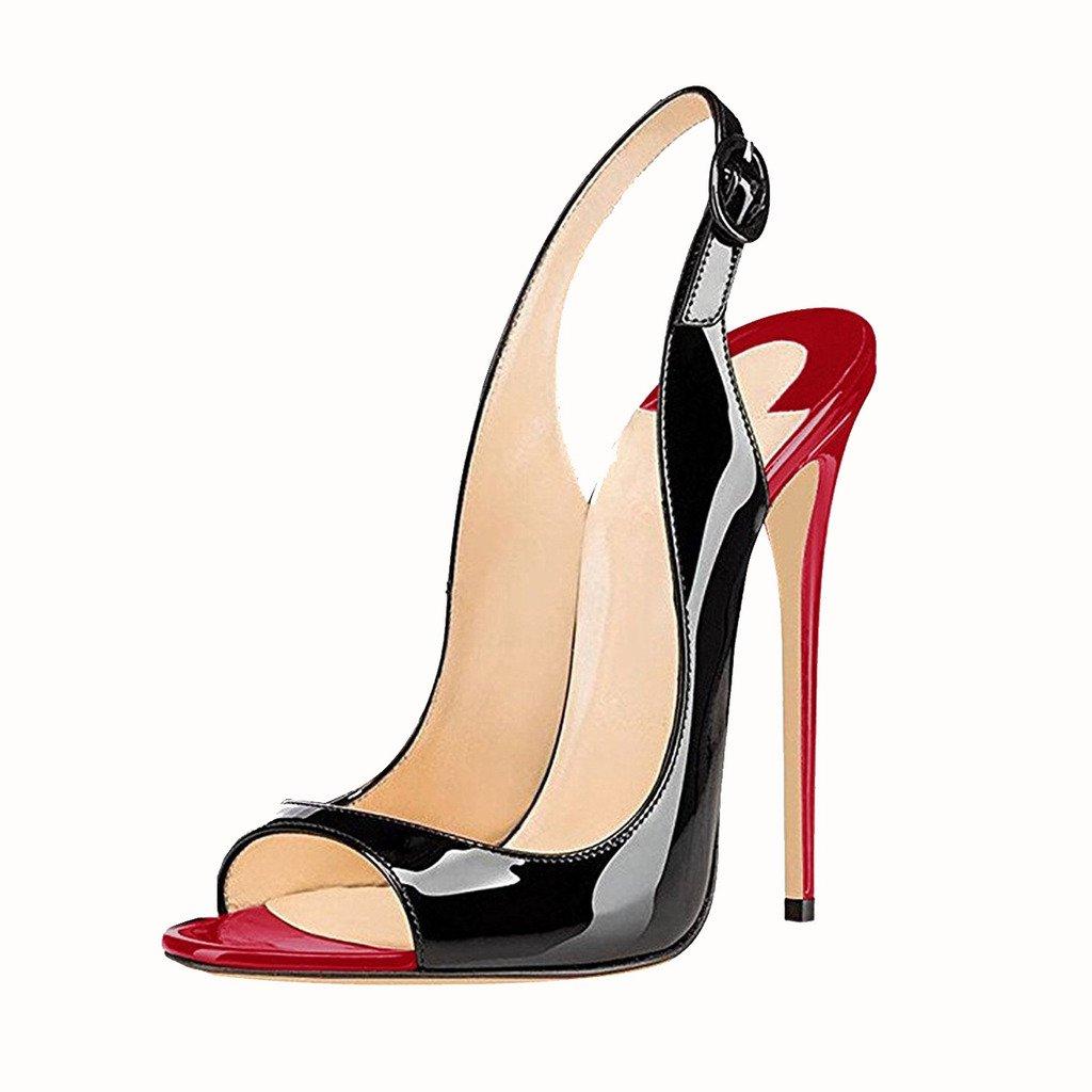 EDEFS Damenschuhe 120mm Peep Toe mit Slingback High Heels Sandalen mit Toe Schnalle Öffnen Zehe Stiletto Schuhe be6716