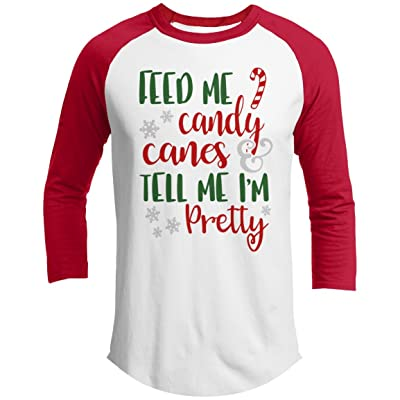3a69a1982 21 Threads Christmas Raglan Feed Me Candy Canes Holiday 3/4 Sleeve T-Shirt
