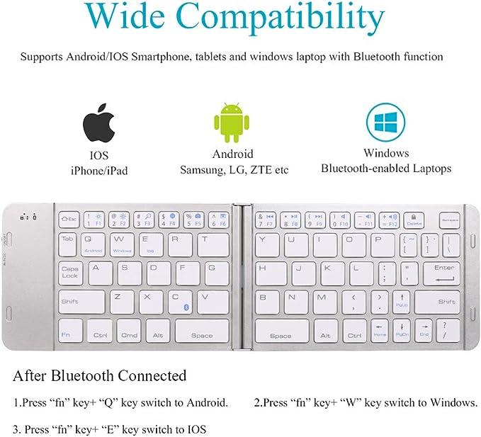 Teclado Universal de Aluminio Bluetooth inalámbrico Recargable Compatible con Apple iPhone XS MAX/XS/XR/X/8 Plus/7 Plus/6S Plus/i8/Samsung/iPad iOS ...