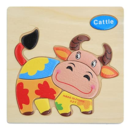 Alician Toy Children Cartoon Wooden Intelligence Jigsaw Puzzle Toy Animal Transportation Cognize Hands Grip Toy Calf