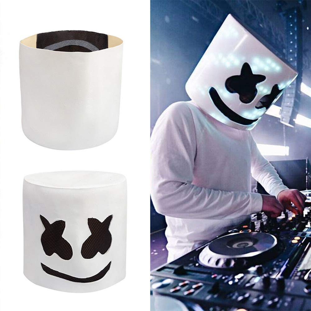 Amazon.com : FAgdsyigao LED/Non LED MarshMello DJ Mask, Full Head Make Helmet Cosplay Masks Bar Props for Party Club led : Beauty