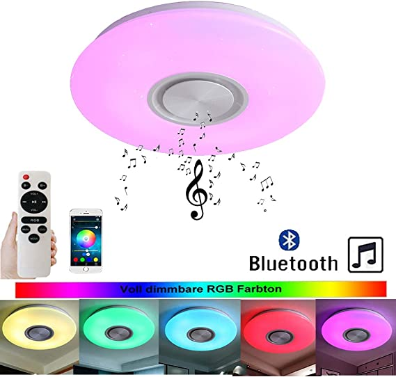Lámpara de techo LED RGB de 24 W con Bluetooth, con control de ...