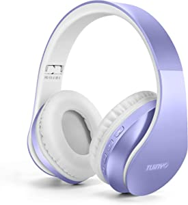 Bluetooth Headphones,Tuinyo Wireless Headphones Over Ear with Microphone, Foldable & Lightweight Stereo Wireless Headset for Travel Work TV PC Cellphon-Purple