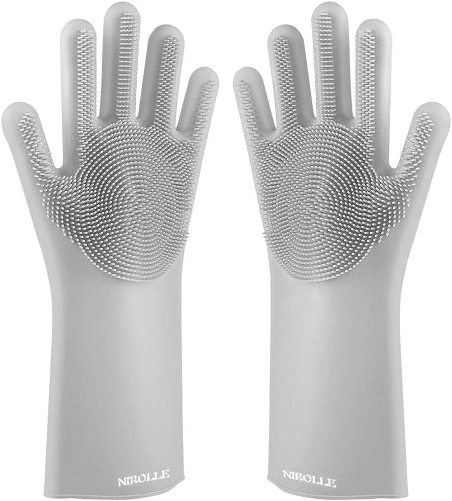 NIROLLE Reusable Silicone Dishwashing Gloves, Pair of Rubber Scrubbing Gloves for Dishes, Wash Cleaning Gloves with Sponge Scrubbers for Washing Kitchen, Bathroom, Car & More (Gray)