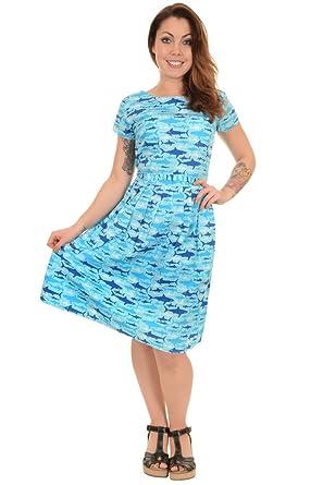 Ladies Run & Fly 50s 60s Retro Kitsch Jaws Shark Tea Party Belt Dress 4