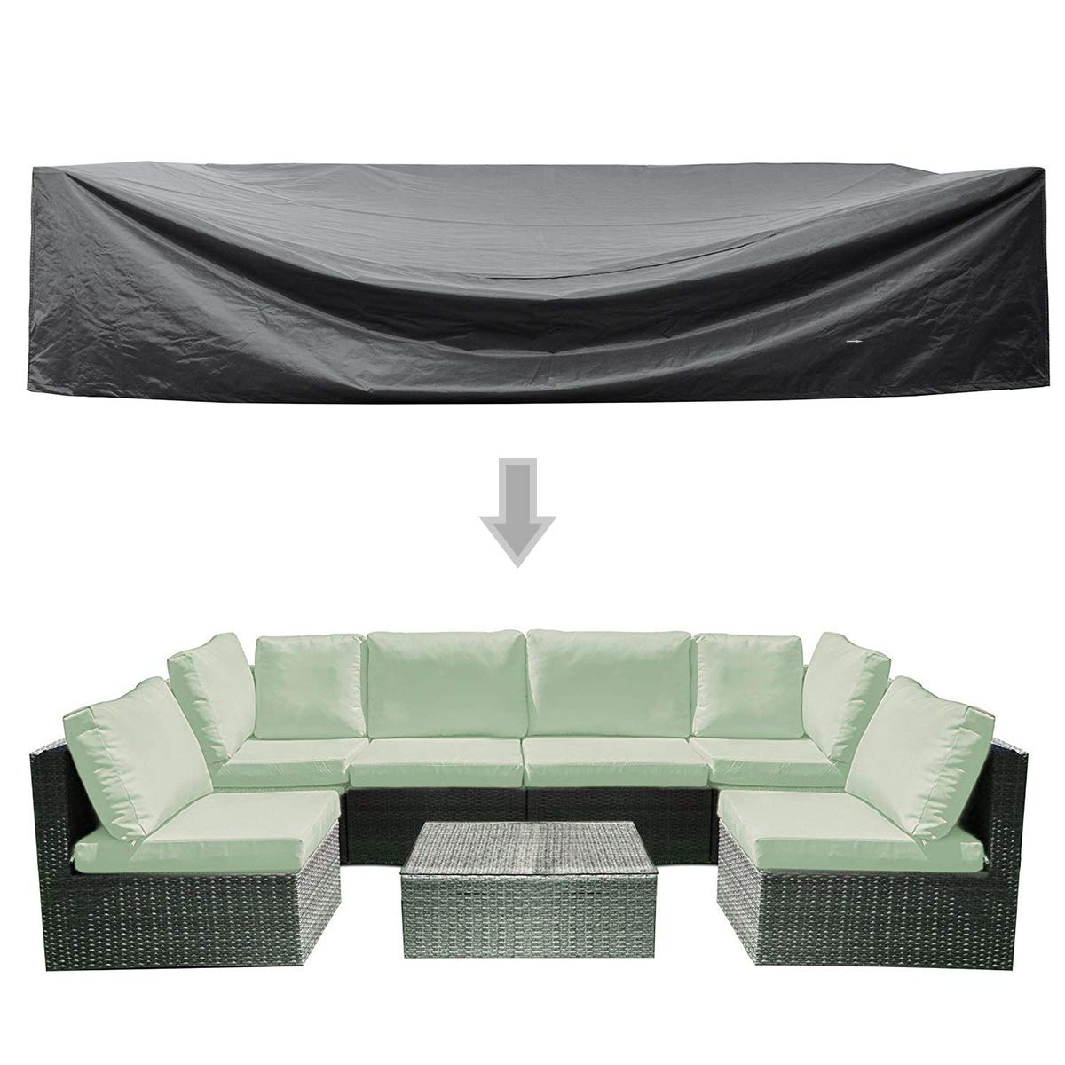 WOMACO Patio Cover Outdoor Furniture Lounge Porch Sofa Waterproof Dust Proof Protective Covers (126'' x 63'' x 29'', Black) by WOMACO