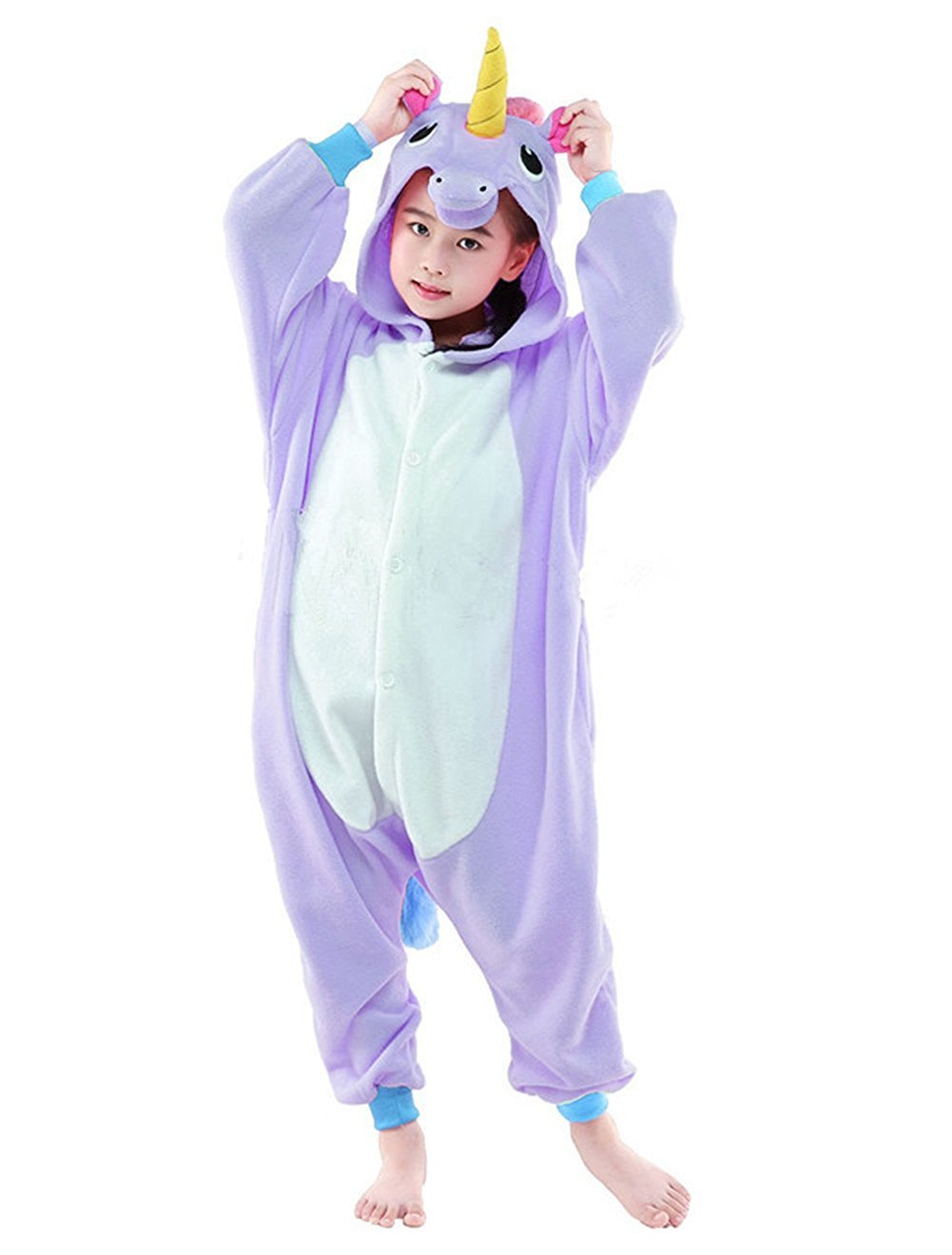 Kids Unicorn Onesies Kigurumi Animal Costume (115#(51-55 inch), Purple Unicorn)