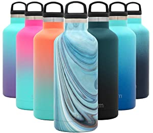 Simple Modern 32oz Ascent Water Bottle - Hydro Vacuum Insulated Tumbler Flask w/Handle Lid - Double Wall Stainless Steel Reusable - Leakproof Pattern: Ocean Quartz