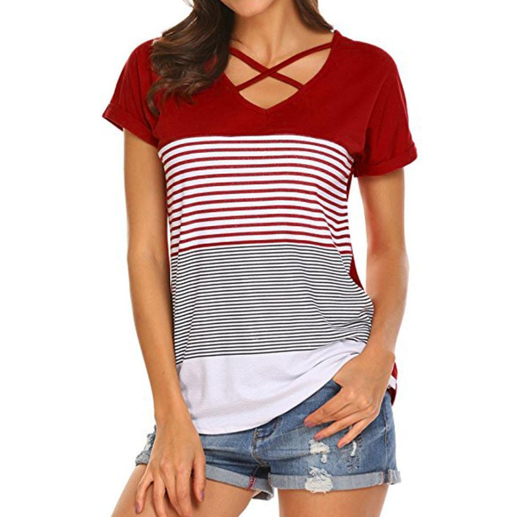 Sothread Women's Short Sleeve Triple Color Block Stripe Criss Cross T Shirt Tunic Tops