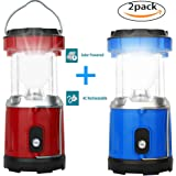 2 Pack Solar Camping Lantern and led rechargeable lantern for camping,hiking,and kids