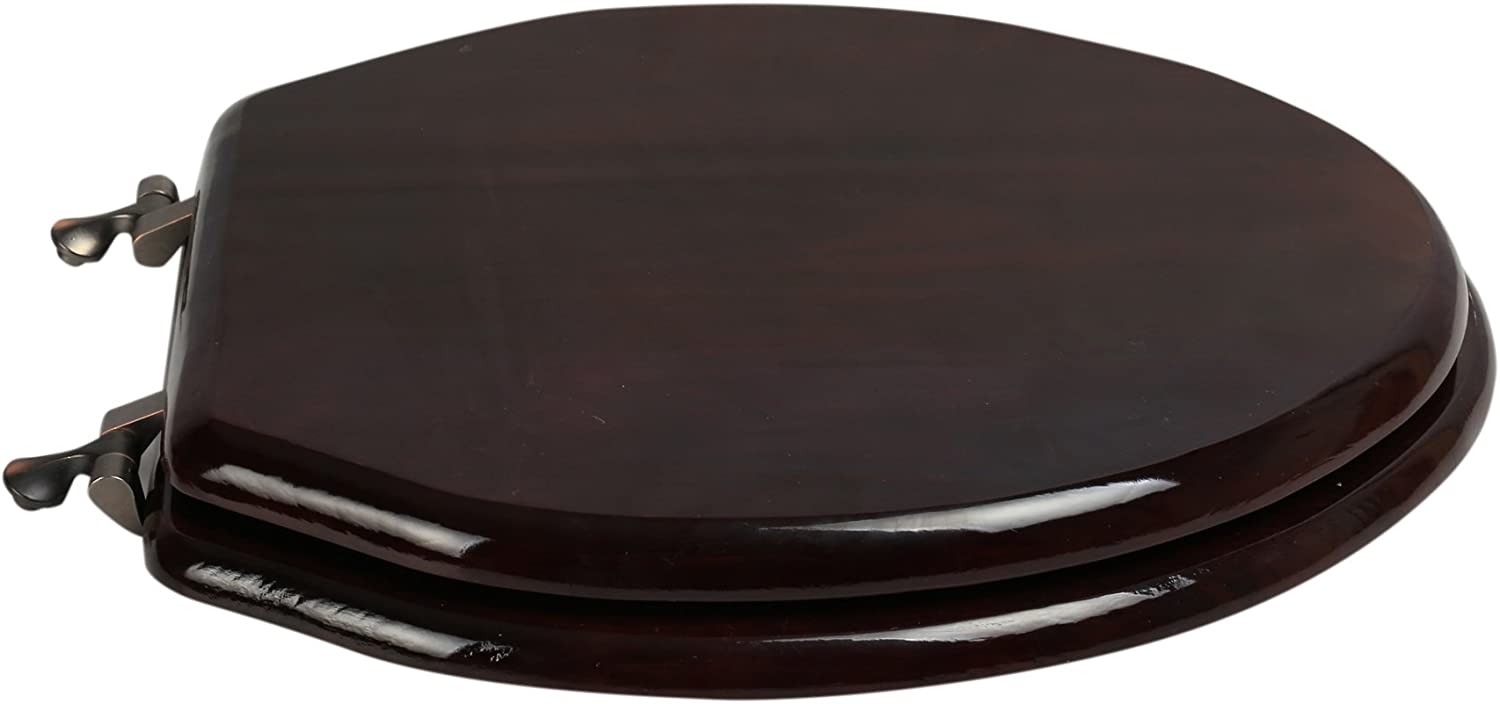 BathDecor 5F1E2-16OB Elongated Toilet Seat in Traditional Design with Oil Rubbed Bronze Metal Hinges Mahogany Stained Finish