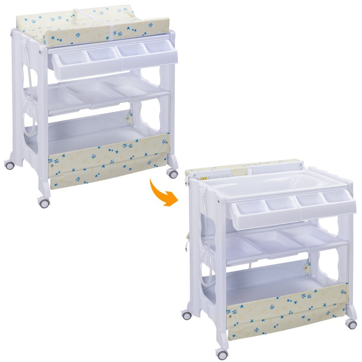 Costzon Baby Bath and Changing Table, Diaper Organizer for Infant with Tube & Cushion (Beige) by Costzon (Image #2)