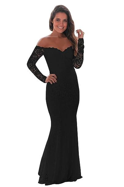emmarcon Elegante Abito Cerimonia da Donna a Sirena Vestito Lungo in Pizzo  da Party Festa  Amazon.it  Abbigliamento 0e7e0444a20