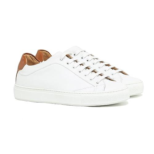 free shipping 09ba9 e38ed Sneakers Uomo in Pelle Stringata di Colore Bianco Scarpe ...