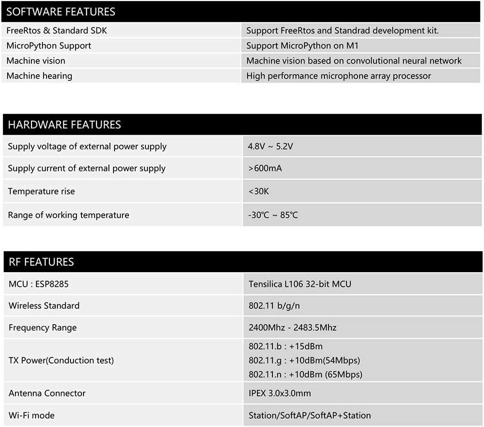 Protective Case Tickas Development Board Kit Maix-GO Suit RISC-V Dual Core 64bit with FPU K210 AI Development Board Mini PC+ WiFi Touchscreen Antenna USB Cable 2 Megapixel OV2640 Camera