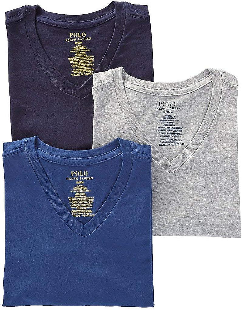 Polo Ralph Lauren Men's Slim Fit w/Wicking 3-Pack V-Neck at  Men's Clothing store