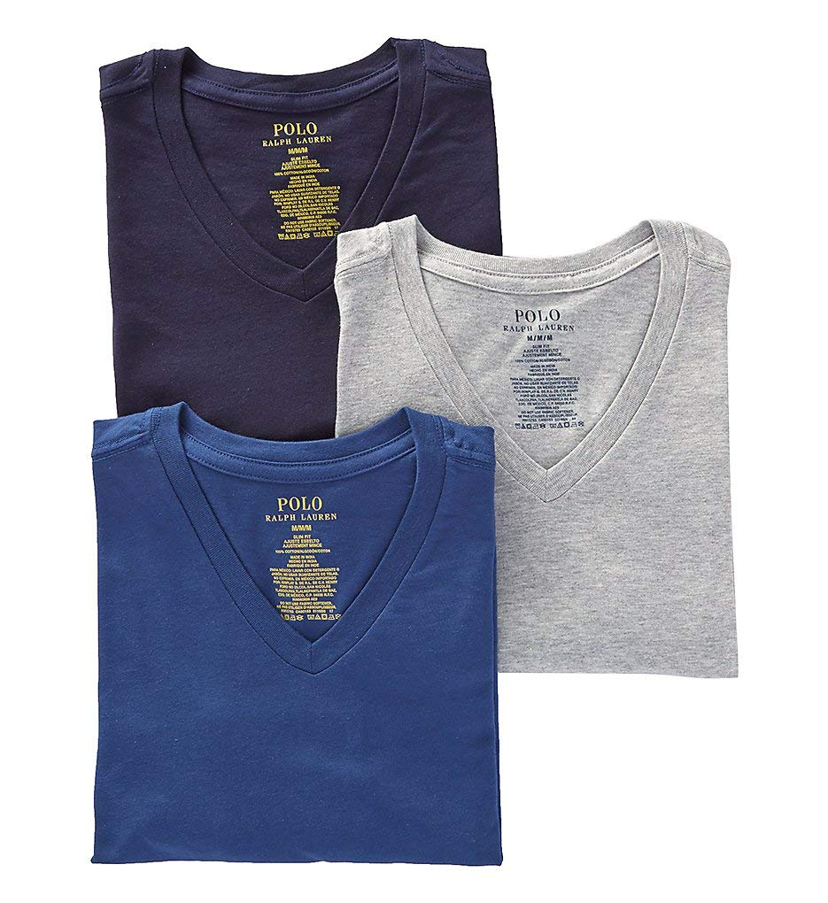 Polo Ralph Lauren Slim Fit 100% Cotton V Neck T-Shirts - 3 Pack (RSVNP3) S/Andover/Bali/Navy by Polo Ralph Lauren