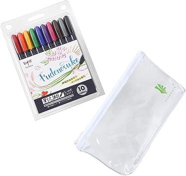 Tombow Fudenosuke Juego de 10 colores, WS-BH10C (versión japonesa) con estuche de vinilo original Rotuladores de punta dura Fudenosuke en colores surtidos para caligrafía y dibujos artísticos: Amazon.es: Juguetes y juegos