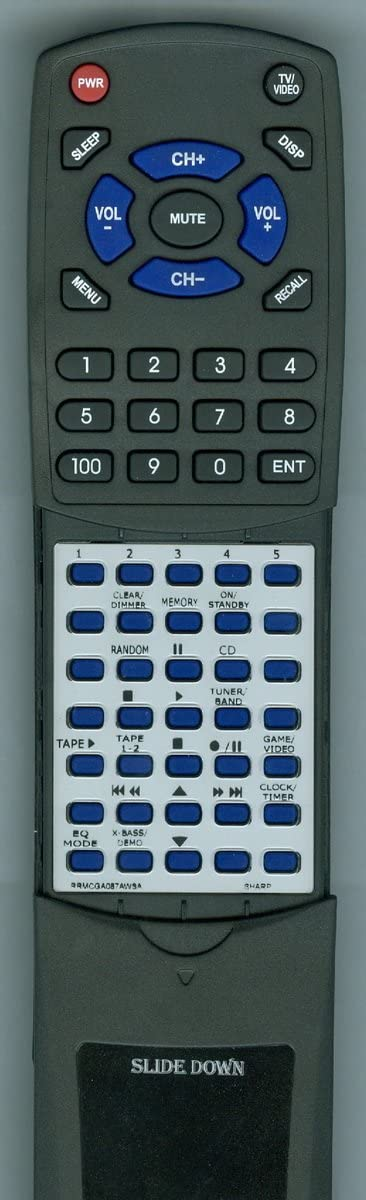 Replacement Remote Control for Sharp RRMCGA087AWSA CDES777