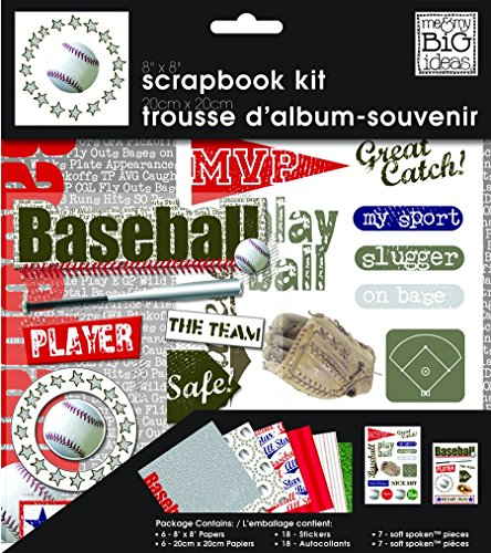 me & my BIG ideas Scrapbook Page Kit, Baseball, 8-Inch by 8-Inch
