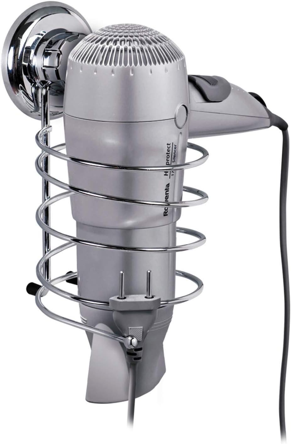 Tatkraft Megalock 11441 - Soporte para secador de pelo, ventosa, acero cromado, 10cm x 12.5cm x 18.5cm