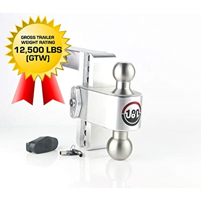 "Weigh Safe 180 HITCH LTB6-2 6"" Drop Hitch, 2"" Receiver 12,500 LBS GTW - Adjustable Aluminum Trailer Hitch Ball Mount & Stainless Steel Combo Ball, Dual Pin Keyed Lock: Automotive"