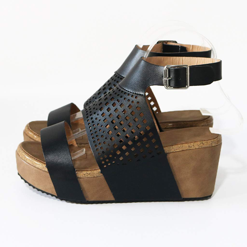 Women's Summer Wedge Sandals Openwork Mesh Roman Sandals Ankle Buckle Casual Beach Party Shoes by Sharemen(Black,US: 5.5) by Sharemen Shoes (Image #3)