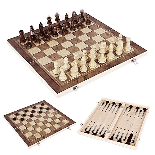 Interlink 3 In 1 Wooden Chess Checker Backgammon Set Game Foldable Travel Wood Combination Storage Box for Kids or (Folding Wood Backgammon Set)