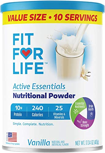 Fit For Life Active Essentials Nutritional Powder, Vanilla, 17.04 oz