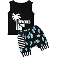 Toddler Baby Boys Summer Shorts Set Sleeveless Shirts Top and Blommer Shorts Clothes Outfits (Beaches Love Me, 6-12 Months)