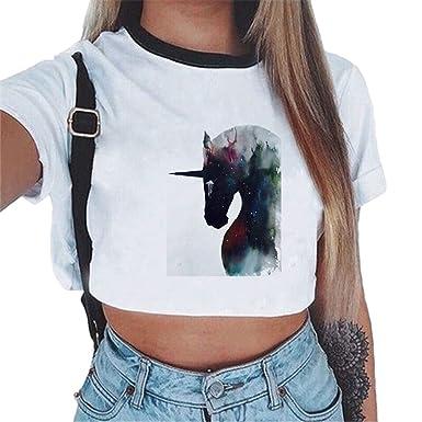 50cd7b066ad2 ZKOOO Femmes Courtes T-Shirt Licorne Imprimer Crop T-Shirt à Manches Courtes  Eté