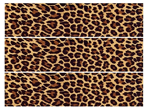 (Edible Leopard Print Cake Decoration, Safari party supplies for quarter sheet, round cake, cupcake toppers or cake strips, Cheetah print cake topper (3 Strips for cake sides)