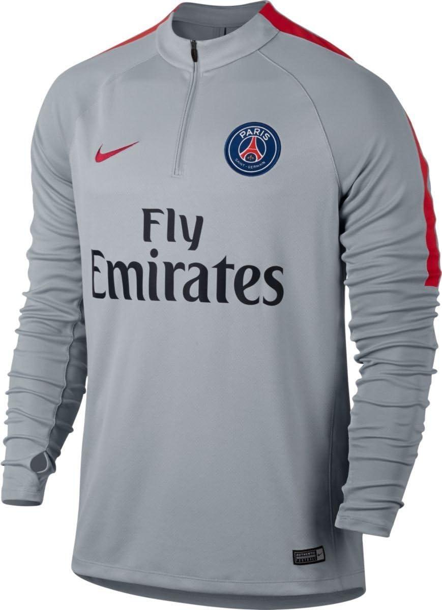 Nike PSG M NK SQD Dril Top Maillot Manches Longues París Saint Germain FC pour Homme, Gris (Wolf GreyWolf GreyUniversity Filet)