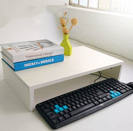 QXWL Soporte de Monitor de Madera Ordenador portátil Pantalla de TV Organizador de Escritorio Riser 48.5