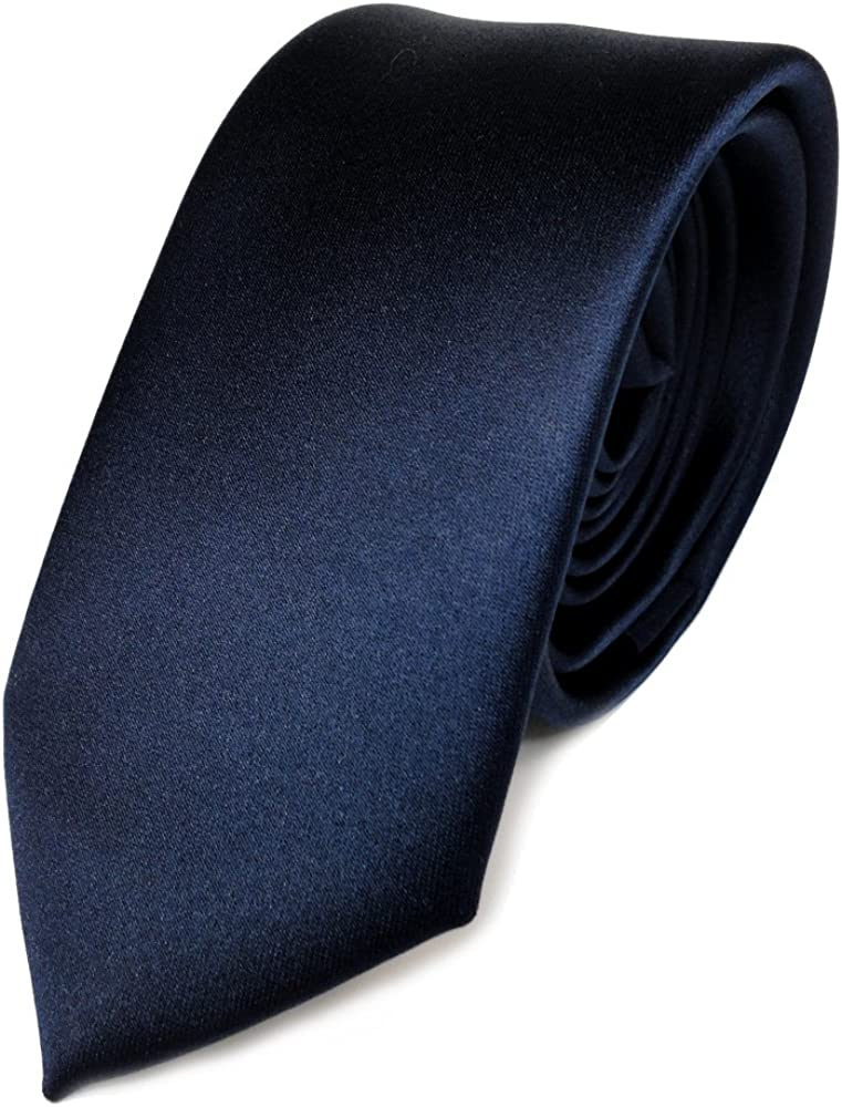 TigerTie stretta raso cravatta blu marino blu scuro uni poliestere