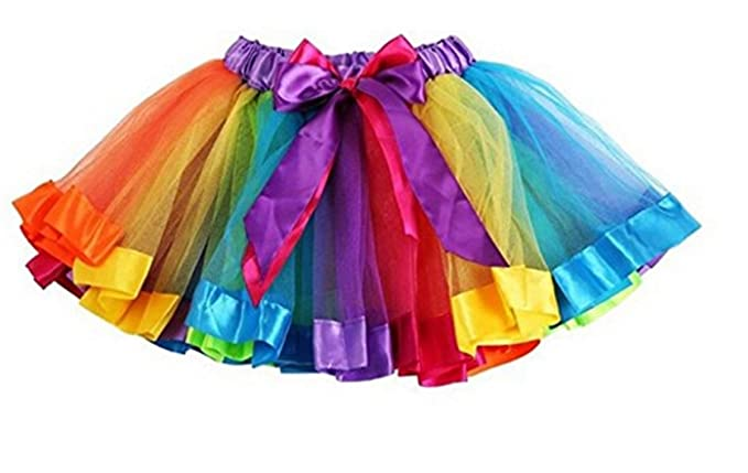 480b51fbf Girls Rainbow Tutu Skirt Petticoat Multicolour Dress Kids Ballet ...