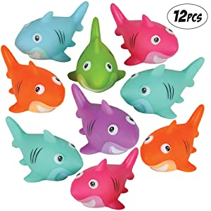 Bedwina Colorful Rubber Sharks (Pack of 12) Neon Squeezable & Squirtable Smiling Sharks, for Kids Pool and Bathtub Play, Summer Birthday Party's & Decorations