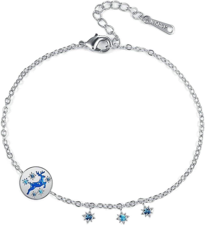 AnazoZ Brazaletes Ciervo con Estrella Circonita Azul Pulsera Mujer Cobre Plata