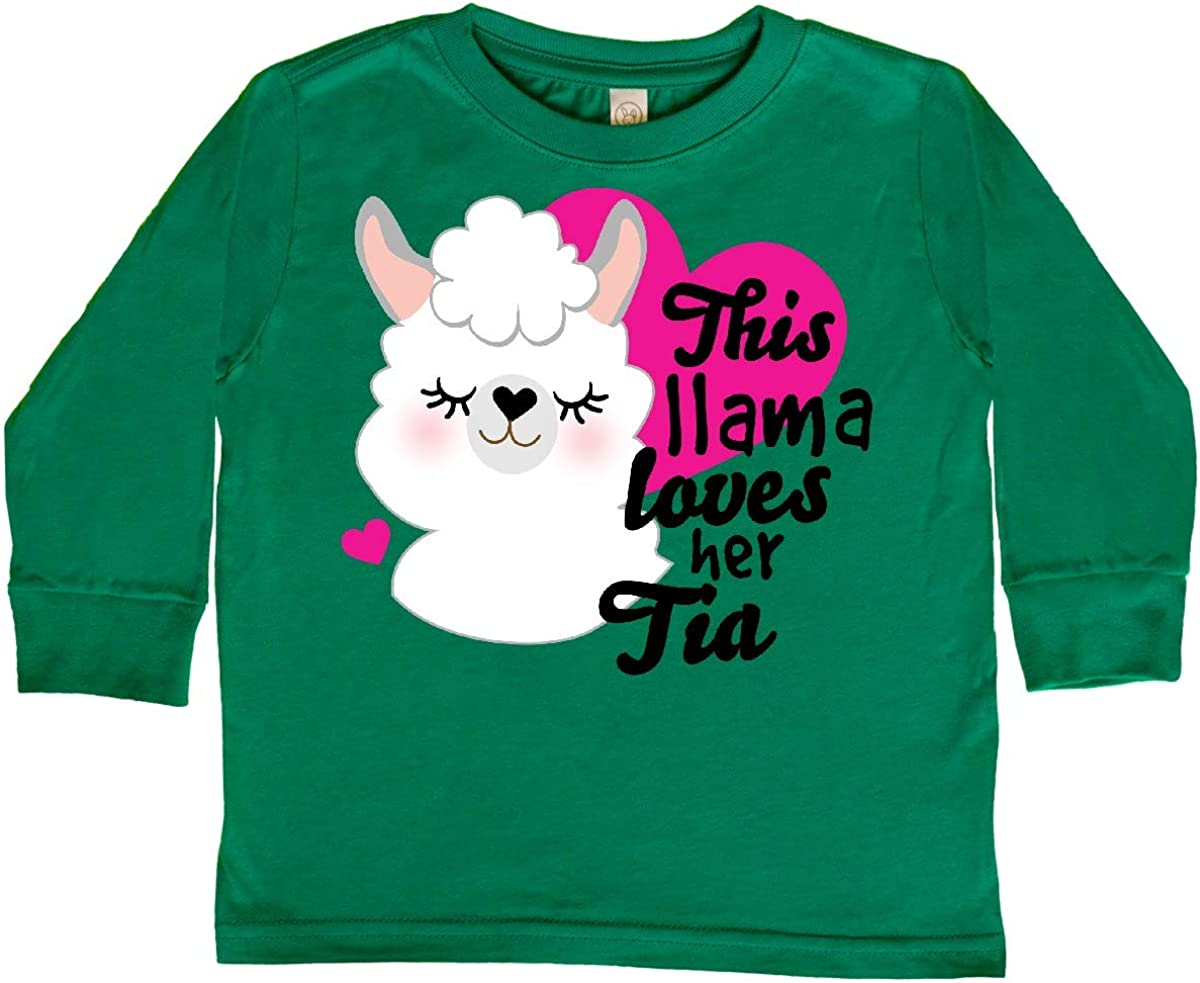 inktastic Valentines Day This Llama Loves Her Tia Toddler Long Sleeve T-Shirt