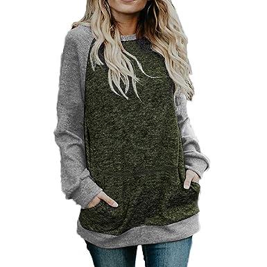 1475c774b47 Mioloe Women s Green Shirts Fall Raglan Sweater Casual Hoodie Long Sleeve  Blouse with Pockets