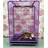 Paw Essentials Heavy Duty 3-Tier Cat Condo with Door, 2 purches and a Comfy Cat Hammock/ Cage Size: 35.5L x 24W x 47in with Roller Wheels (Purple)