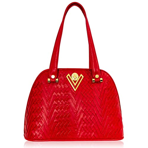 6ce48f31b1 Valentino Orlandi Italian Designer Coral Red Pleated Draped Leather Large Purse  Bowling Bag: Amazon.co.uk: Shoes & Bags