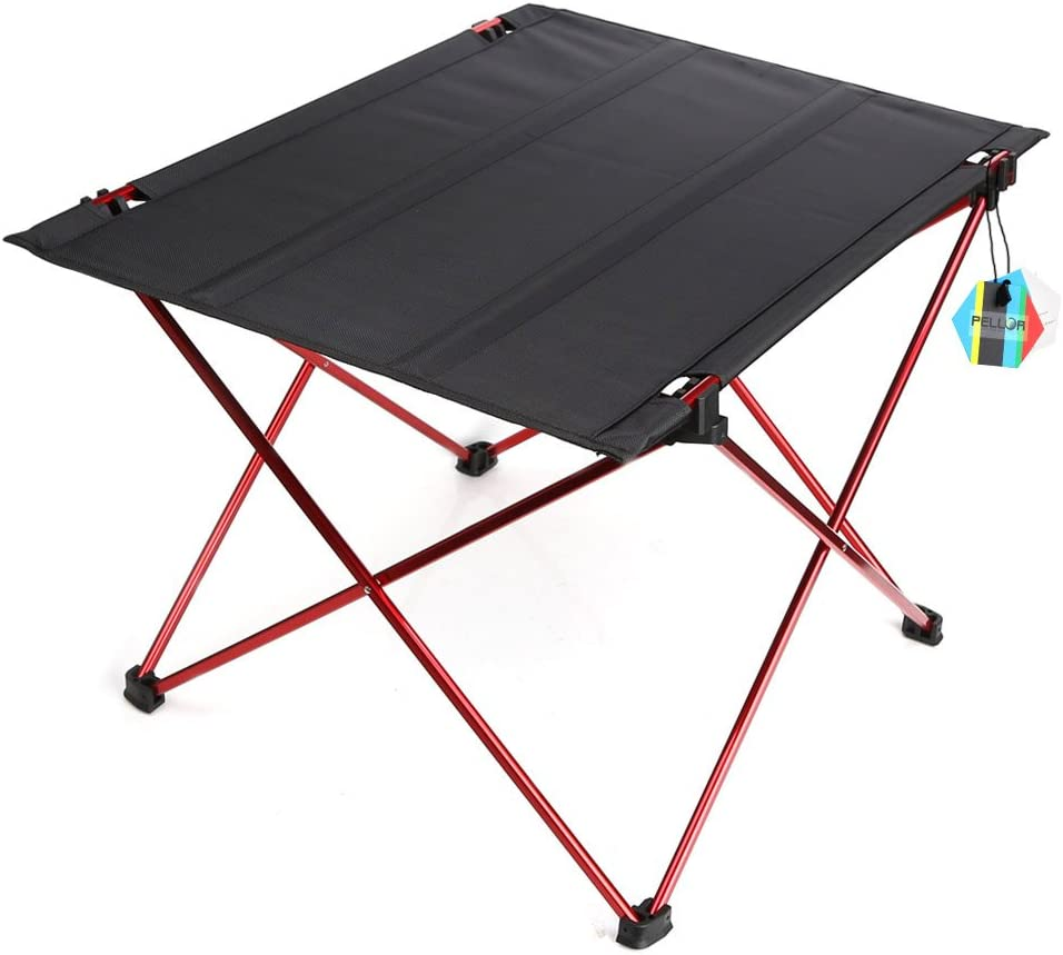 Pellor Outdoor Lightweight Portable Folding Desk Aluminum Alloy Table Holder With Carry Bag For BBQ Camping Hiking Fishing Picnic Red